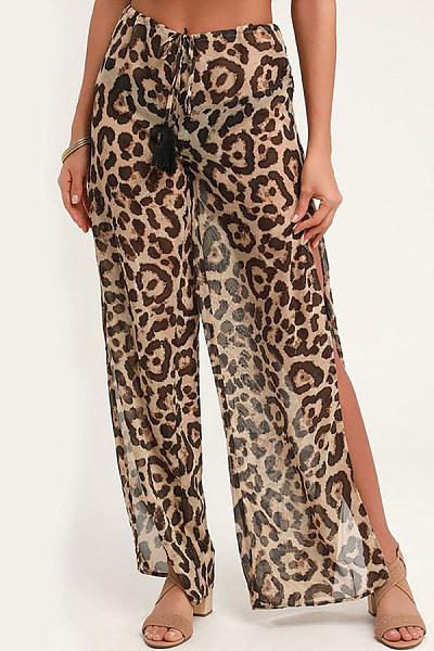 Leopard Print Chiffon Loose Trousers