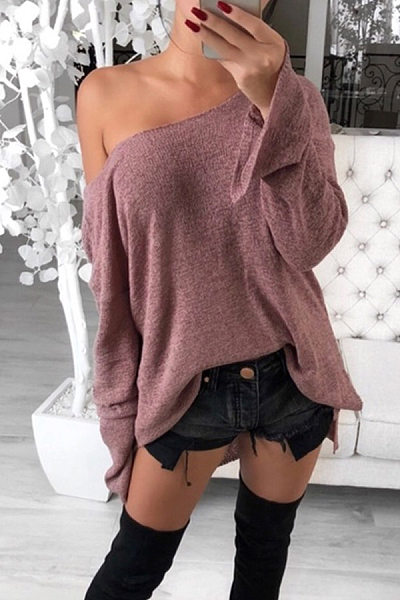 Casual Low Round Neck Side Slit Long Sleeve Sweater