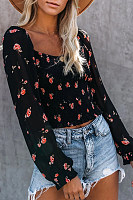 Sweet Square Collar Floral Long Sleeve Short Shirt