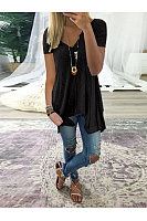 Casual V-Neck Asymmetrical Hem T-Shirt