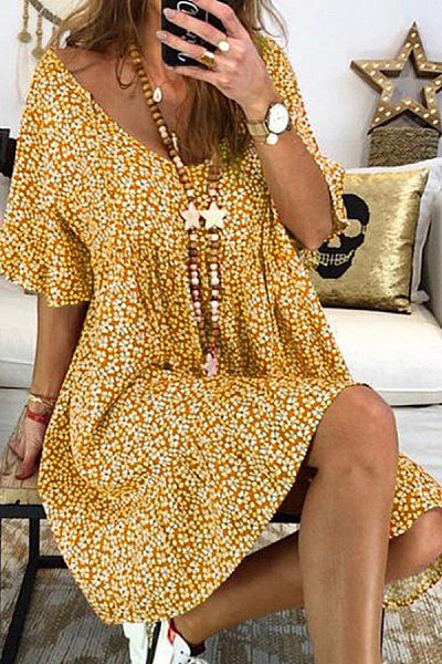 V Neck  Floral Printed  Short Sleeve Casual Dresses