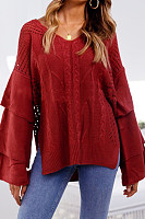 V Neck  Side Slit  Plain  Bell Sleeve Sweaters