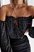 Off Shoulder  Exposed Navel  Plain  Blouses
