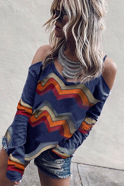 Casual Sling Strapless Long Sleeve Color Striped T-Shirt