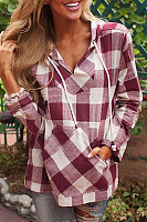Hooded Drawstring Kangaroo Pocket  Checkered Blouses