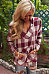 Hooded Drawstring Kangaroo Pocket  Checkered Blouses