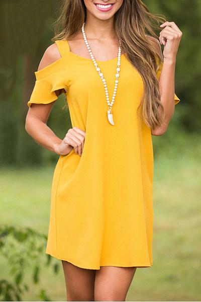 Open Shoulder Patchwork Plain Casual Dress