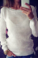 Pullover Plain White Color Hollow Out Sleeves Detail Sweater