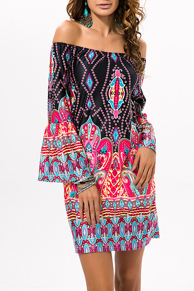 Black Exotic Off Shoulder Printed Casual Dress