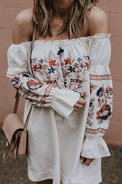 Off Shoulder  Floral Printed  Bell Sleeve Casual Dresses