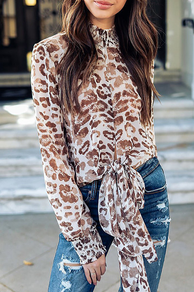 Band Collar  Bow  Leopard Printed Blouses