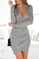 Deep V Neck Backless Curved Hem Long Sleeve Bodycon Dresses