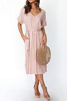 V Neck  Belt  Plain  Short Sleeve Maxi Dresses