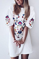 Embroidery Print  Lantern Sleeve  Three Quarter Sleeve Casual Dresses