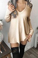Open Shoulder Plain Long Sleeve T-Shirt