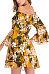 Off Shoulder  Floral Printed  Bell Sleeve  Long Sleeve Skater Dresses