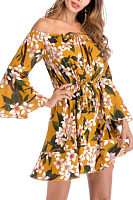 Off Shoulder  Floral Printed  Bell Sleeve  Long Sleeve Skater Dresses