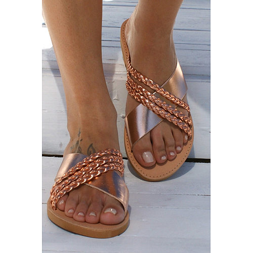 Women Casual Cross Strap Solid Color Flat Sandals