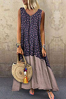 V Neck  Patchwork  Sleeveless Maxi Dresses