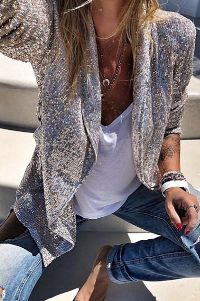 Fashion Lapel Silver Sequins Long Sleeve Cardigan