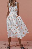 Sexy Backless Crossed Sleeveless Print Dress