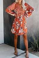 V Neck Long Sleeve Printed Colour Pleated Dress