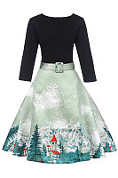 Round Neck  Belt Snowscape Printed Skater Dress