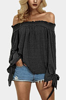 Off Shoulder  Plain  Blouses