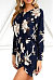 Round Neck  Asymmetric Hem  Floral Printed  Long Sleeve Casual Dresses