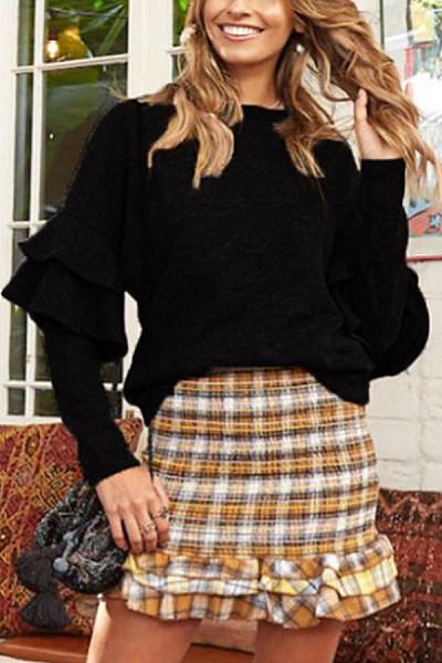 Round Neck  Plain  Basic Sweaters