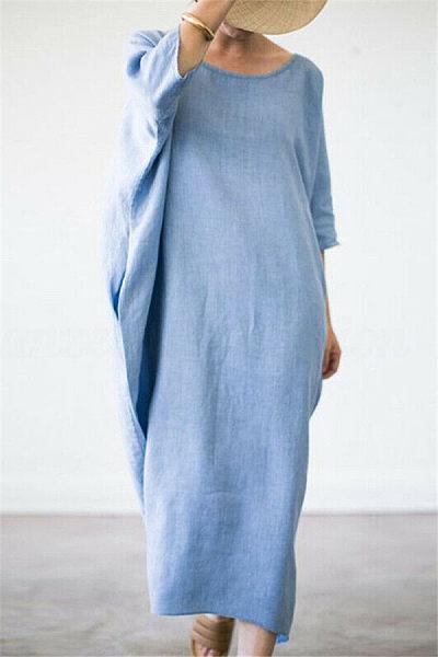 Brief Pure Color Round Neck Maxi Dresses