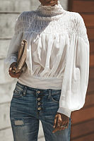 High Neck  Plain  Lantern Sleeve  Blouses