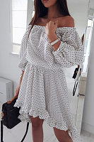 Off Shoulder  Dot  Puff Sleeve  Half Sleeve Skater Dresses