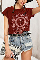 Round Neck  Plain Print T-Shirts