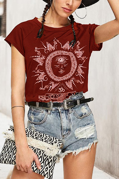 Round Neck  Plain Print T-Shirts