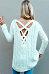 V Neck  Asymmetric Hem Cross Straps  Plain Sweaters