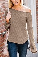 One Shoulder  Asymmetric Hem  Plain  Bell Sleeve T-Shirts