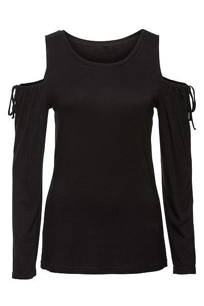 Open Shoulder Plain Bowknot Long Sleeve T-Shirt