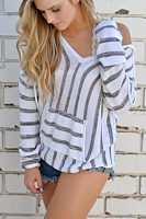 V Neck  Kangaroo Pocket  Striped Hoodies