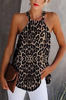 Women's Hanging Neck Sleeveless Leopard Camis