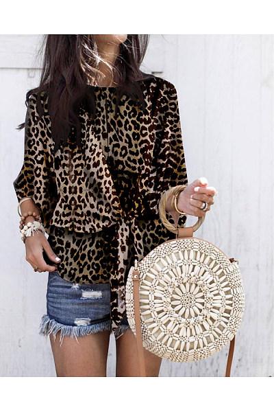 Fashion Round Collar Leopard Print Blouses
