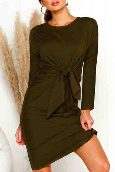 Round Neck  Belt Loops  Plain  Long Sleeve Bodycon Dresses