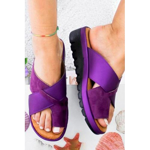 Casual Date Travel Plain  Peep Toe   Wedge Sandals