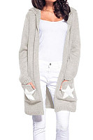 Hooded  Loose Fitting  Geometric Cardigans