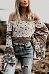 Off Shoulder  Printed  Bell Sleeve  Blouses
