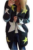 Collarless  Star Printed  Cardigans