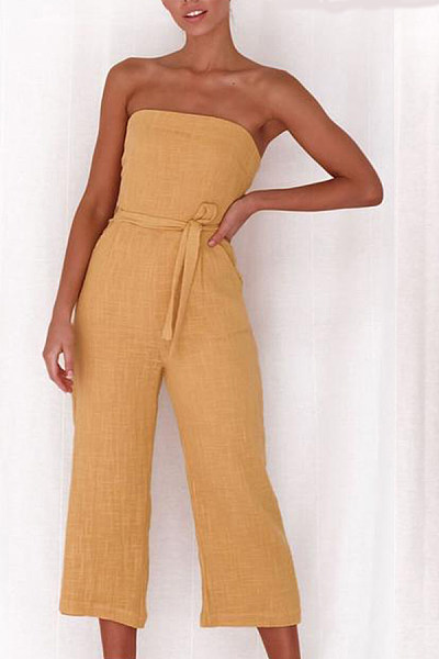 Strapless  Belt  Plain  Sleeveless Jumpsuits
