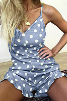 Spaghetti Strap  Dot  Sleeveless  Sexy  Playsuits