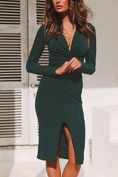 Deep V Neck  Slit  Plain  Long Sleeve Bodycon Dresses