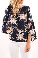 Round Neck  Floral Printed Hollow Out  Bell Sleeve Blouses